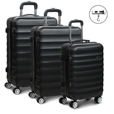 Wanderlite 3 Piece Lightweight Hard Suit Case Luggage Black