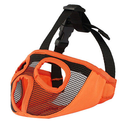 Mesh Short Snout Dog Muzzle Mouth Mask for Bulldog Flat Faced Dogs Orange L