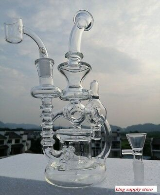 Big Size Glass Recycler Bong With 4mm Quartz Banger 14mm Joint FLASH SELL+FREE S