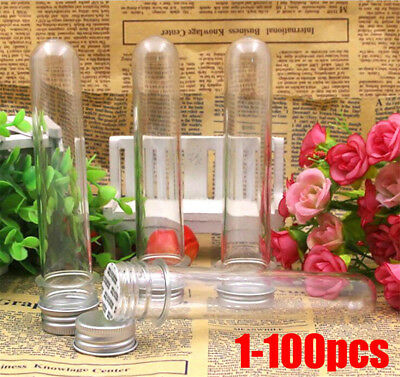 Plastic Lab Test Tubes Metal Caps Screw Top Lid Round Bottom Wedding Party NEW a