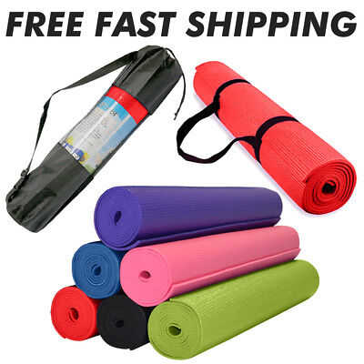 """Foam Mats for Yoga Pilates Exercise + Carry Bag  68"""" x 24"""" - 1/4"""" Thick"""