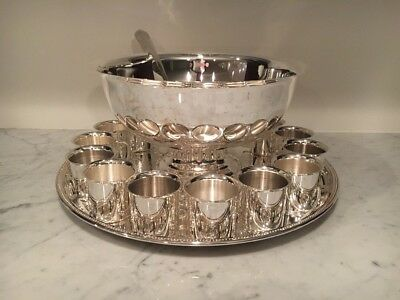 Silver-plated 15-piece Punch Bowl Set