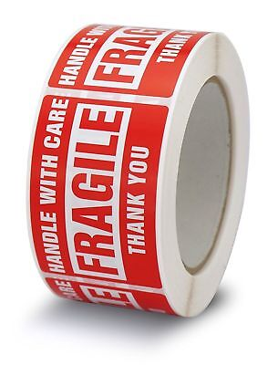 3x5 Fragile Stickers Handle with Care Thank You Mailing Labels 500/Roll Quantity