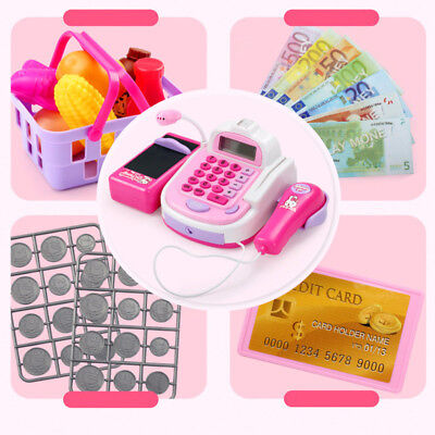 Kids Electronic Till Cash Register Scale Toy Pretend Supermarket Play Gift Pink