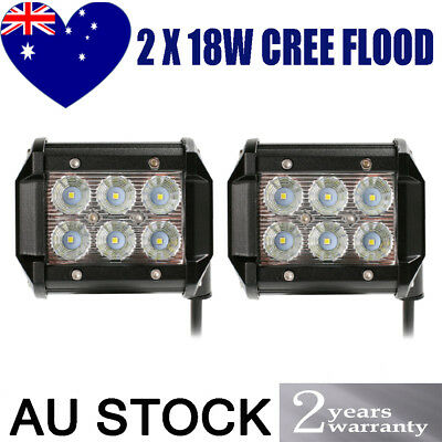 2x 4inch 18W Cree LED Work Light Bar Driving Lamp Flood Truck Offroad UTE 4WD