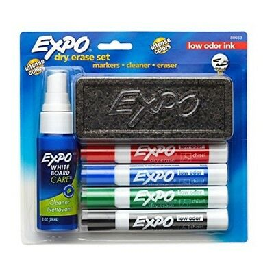 4 Pack=16pc Low-Odor Dry Erase Set,Includes Chisel Tip,Assorted Color Markers,