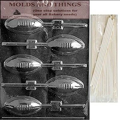 FOOTBALL LOLLY Chocolate Candy Mould With © Moulding Instruction + 50 Lollipop