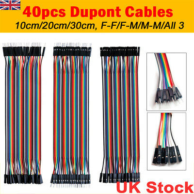 40pcs Dupont Jumper Cable Wire Breadboard Wire Arduino M-F, M-M, F-F Pi Tool UK