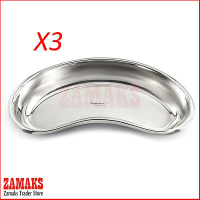 Set Of 3 Surgical Kidney Tray DISH Dental Veterinary Instruments Stainless Steel