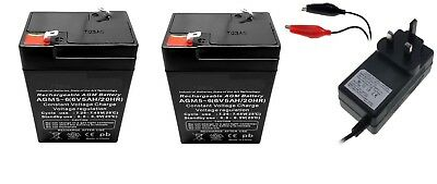 Toy Car Battery and Charger Combo 2 x 6v 4.5ah Batteries & 6 Volt Mains Charger
