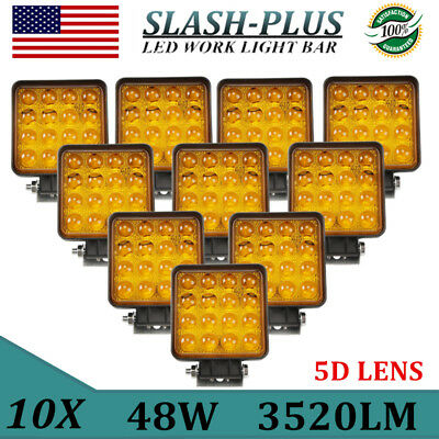 10X 48W Spot LED Offroad Work Light 5D Lamp 12V24V Truck Fog Driving Yellow Jeep