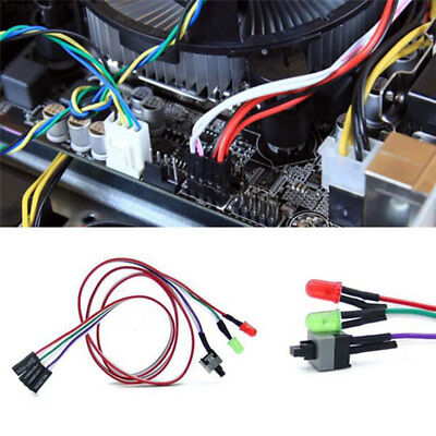 DE31 Universal ATX PC Computer Motherboard Power Switch Cable Line With LED Ligh