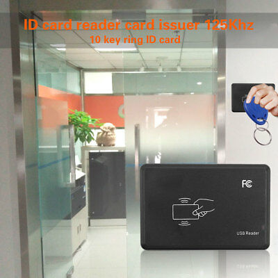 5F64 USB Port 125Khz ID Card Tag Writer Reader Copier Duplicator w/ Key Ring+ID