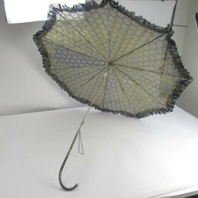 Vintage Black and Gold Lace Parasol w/ Highly Ornate Metal Handle Needs Repairs