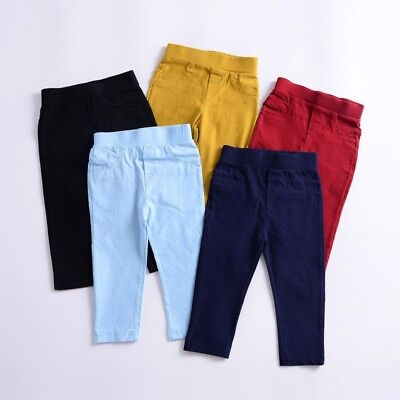 1-6Y Toddler Kids Boys Girls Cotton Long Pants Trousers Soft Cotton Tight Pants