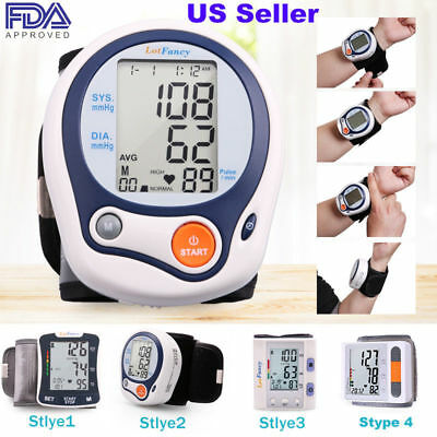 Automatic Wrist Blood Pressure Monitor BP Cuff Heart Rate Tester Meter  @#
