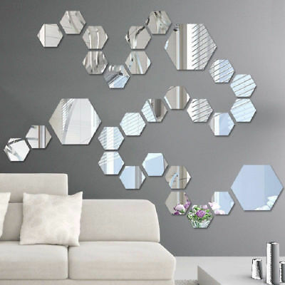44c1 12pcs Hexagon Mirror Wall Stickers Home Mirrored Decoration Art