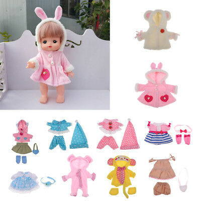 """Cute Clothes for Mellchan Baby Doll 9-11"""" Dolls Jumpsuit Coat Dress Hairband Bag"""