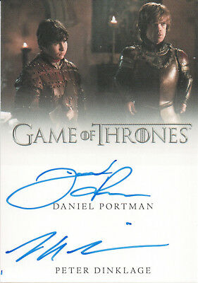 Game of Thrones Valyrian Steel, Portman / Dinklage Dual Autograph Card
