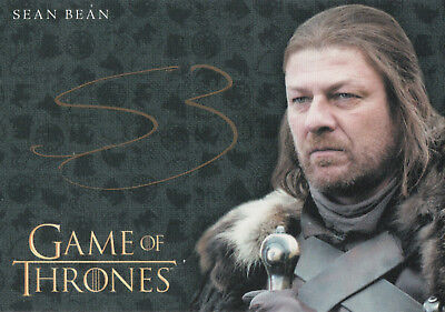 Game of Thrones Valyrian Steel, Sean Bean 'Ned Stark' Gold Autograph Card