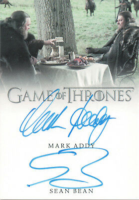 Game of Thrones Valyrian Steel, Mark Addy / Sean Bean Dual Autograph Card