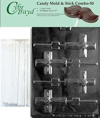 (+50 Sticks) - Cybrtrayd Small Cross Lolly with Flower Chocolate Candy Mould