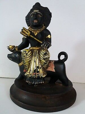 Antique Indian Hindu Gods Bhero Baba Black Stone Statue Handmade Figure 8 Inch