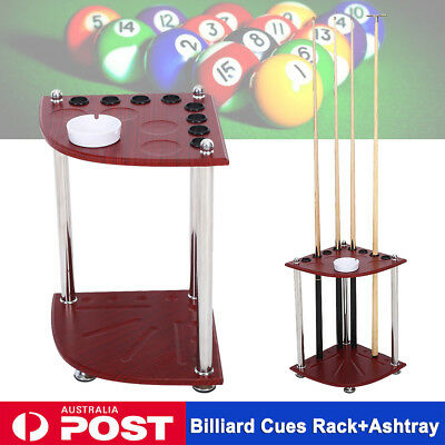Billiard Cue Rack Floor Stand Holder Snooker Club Pool Room Wooden Table Ashtray
