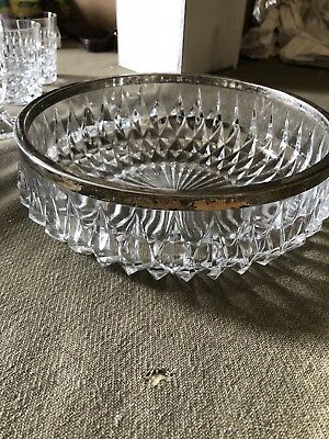 Glass Silver Rimmed Serving Bowl