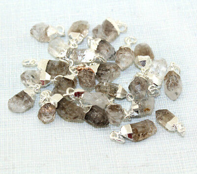 Natural Rough Raw Herkimer Diamond Gold Silver Gold Rose Plated Charms Pendant