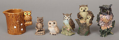 Lot of 5 Small Owl Figurines & Owl Creamer Perfect Owl Lover Gifts