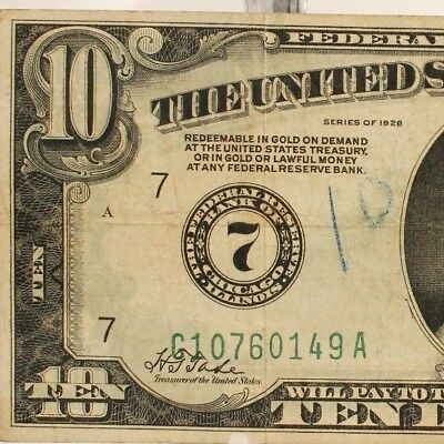 1928 $10 Federal Reserve Note 7 Chicago <F-2000G> Green Seal Tate & Mellon 9/3