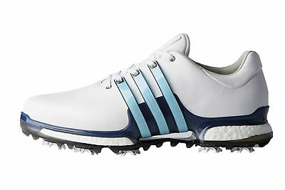 cca23bacb540 2018 Adidas Mens Tour360 Boost 2.0 Wide Golf Shoes White Ice Blue - Pick  Size