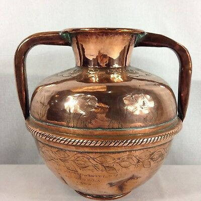 Antique Arts And Crafts Copper Urn Engraved With Cow And Flowers 22cm High