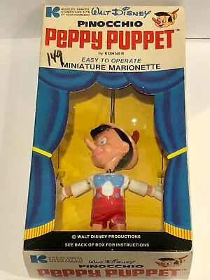 Walt Disney 1970 Kohner Pinocchio Peppy Puppet Miniature Marionette New in Box