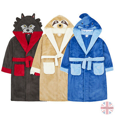 Childrens Boys Soft Wolf Dressing Gown Robe Hooded Novelty Cosy Snuggle Fleece