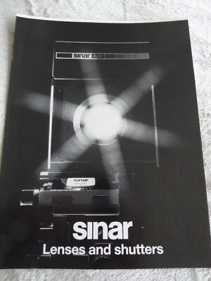 Sinar 'Lenses and Shutters' Technical sales leaflet