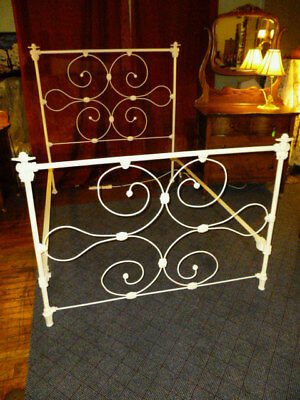 Antique Bed Iron Ornate  Victorian repainted white 1900 late 1800's heavy duty