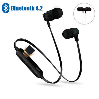 Wireless Bluetooth Sport Earphones Headphones Magnetic TF Card Play FM With Mic
