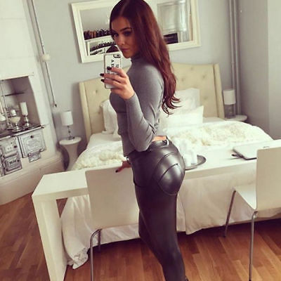 Women Faux Leather Leggings High-waist Pencil Pants Sexy Black Long Pants D