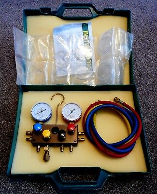 Refco M4-3-Ds-Super Manifold, Lines, + 8X Snap-On Temperature Scales