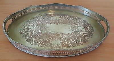 Silver plate electroplate vintage Victorian antique large oval gallery tray