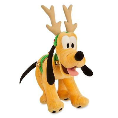 """Disney Parks Pluto Reindeer Christmas 7"""" Plush Soft Toy Brand New With Tags"""