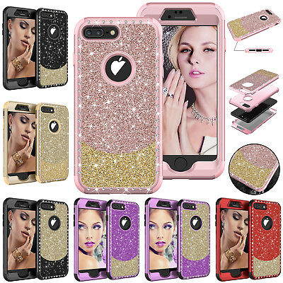 For iPhone 8 Plus 7 Bling Diamond Hybrid Case Heavy Duty Armor Shockproof Cover