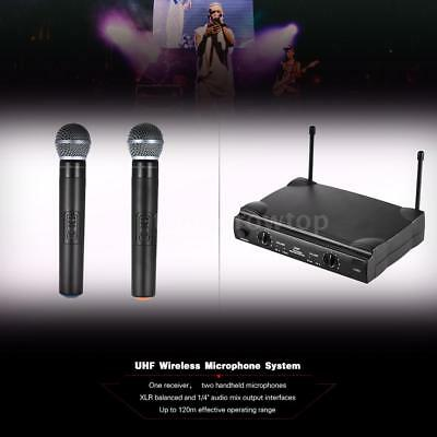 UHF Dual Channels Wireless Microphone System 1 Receiver 2 Handheld Mic Y0M0