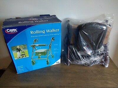 Carex Rolling Walker- with Padded Seat and Backrest- Burgundy frame