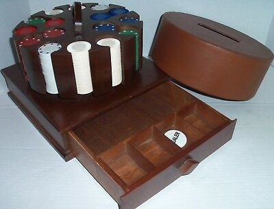 Vintage / Antique Wood 400 Poker Chip Carousel Caddy w/ Cash Drawer Texas Holdem