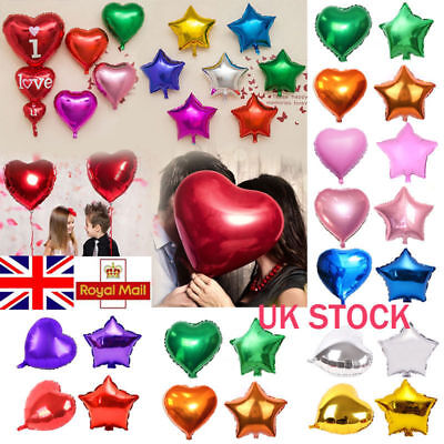 UK 1/5/10/20 Pcs Party Heart Star Shaped Baloons Foil Helium Balloons 12/18/32''