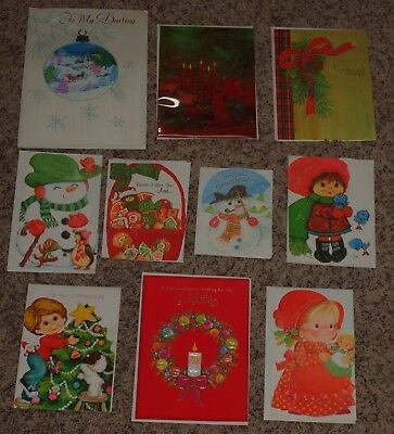 Vintage Lot of 14 Unsigned CHRISTMAS GREETING CARDS Crafts Scrapbook