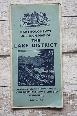 Bartholomew's Cloth One Inch Map of the Lake District Fold Out map